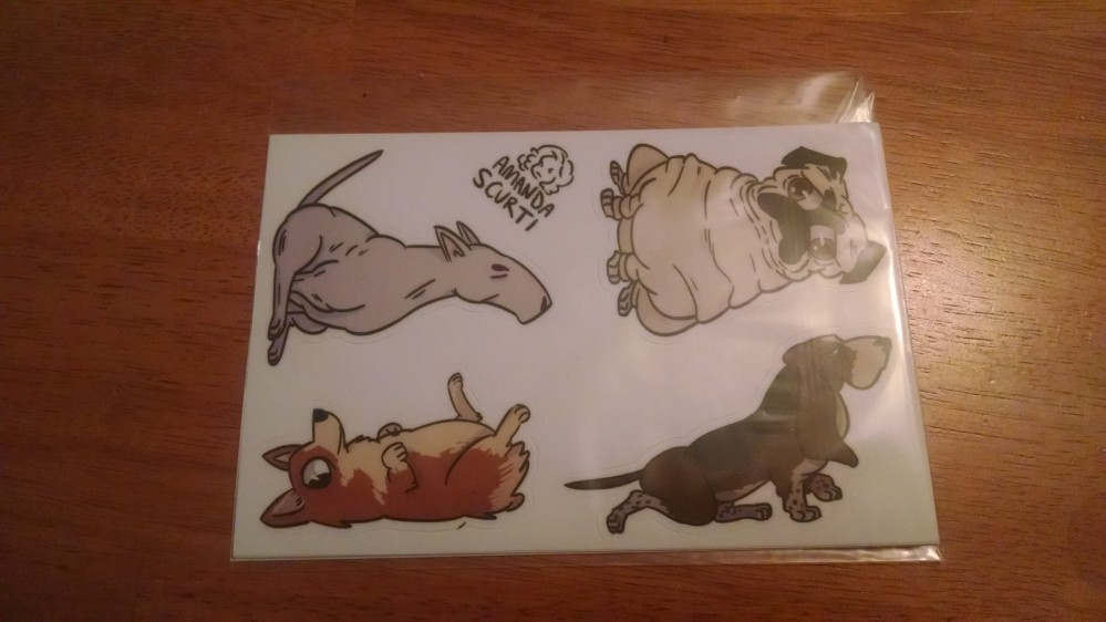 Some extremely cute doggie stickers made by Amanda Scurti, which James got because he loves doggies.
